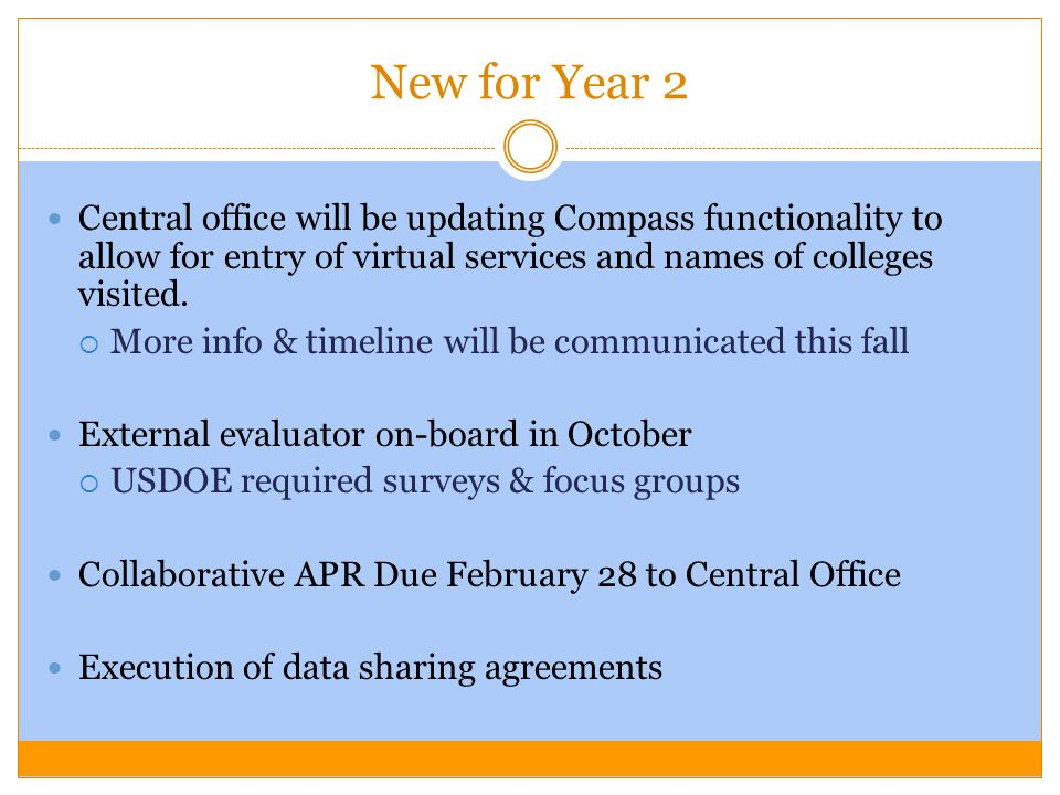 New for Year 2 Central office will be updating Compass functionality to allow for entry of virtual services and names of colleges visited.