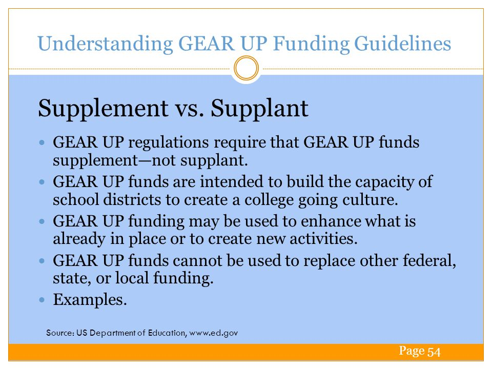 Understanding GEAR UP Funding Guidelines GEAR UP regulations require that GEAR UP funds supplementnot supplant.