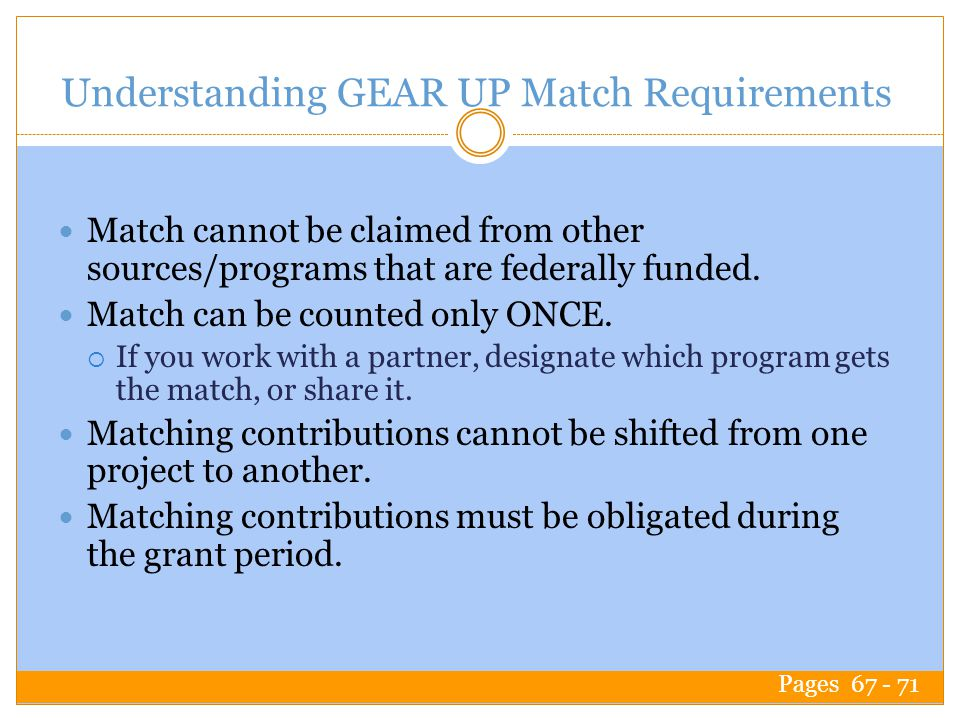 Understanding GEAR UP Match Requirements Match cannot be claimed from other sources/programs that are federally funded.