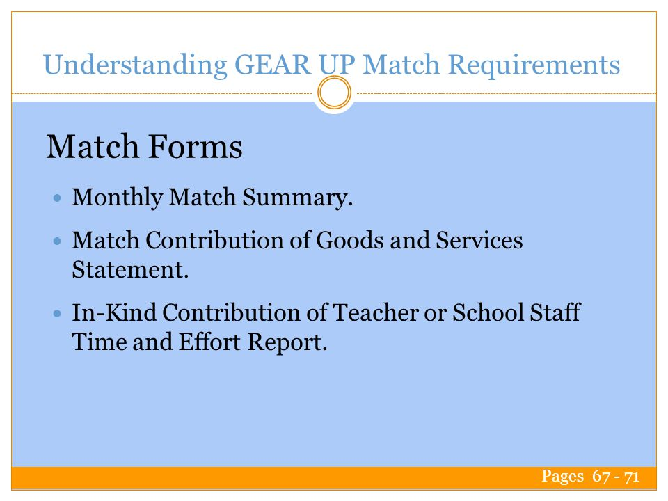 Understanding GEAR UP Match Requirements Monthly Match Summary.