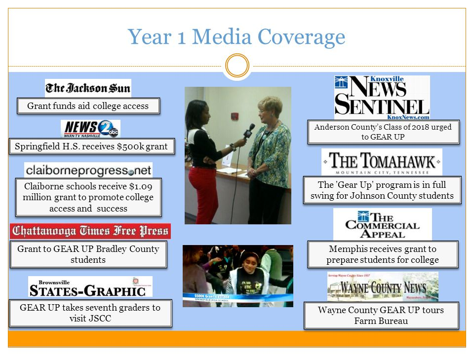 Year 1 Media Coverage Grant to GEAR UP Bradley County students Springfield H.S.
