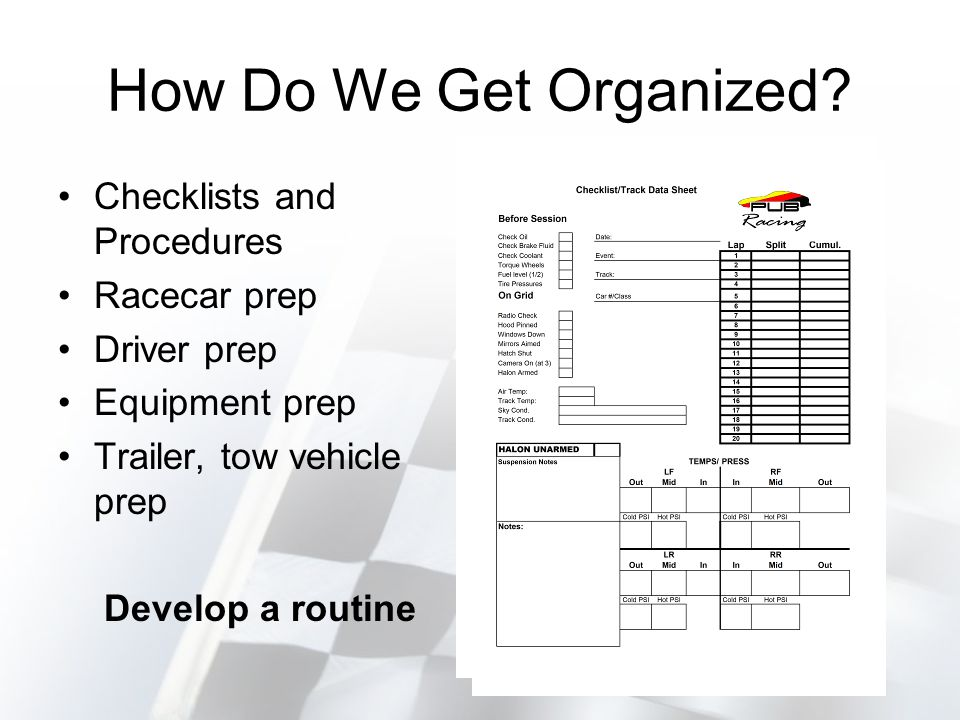 Checklists & Procedures Checklists –Use for packing, pre-session/on-grid, post-race, and between races (upgrades/repairs).