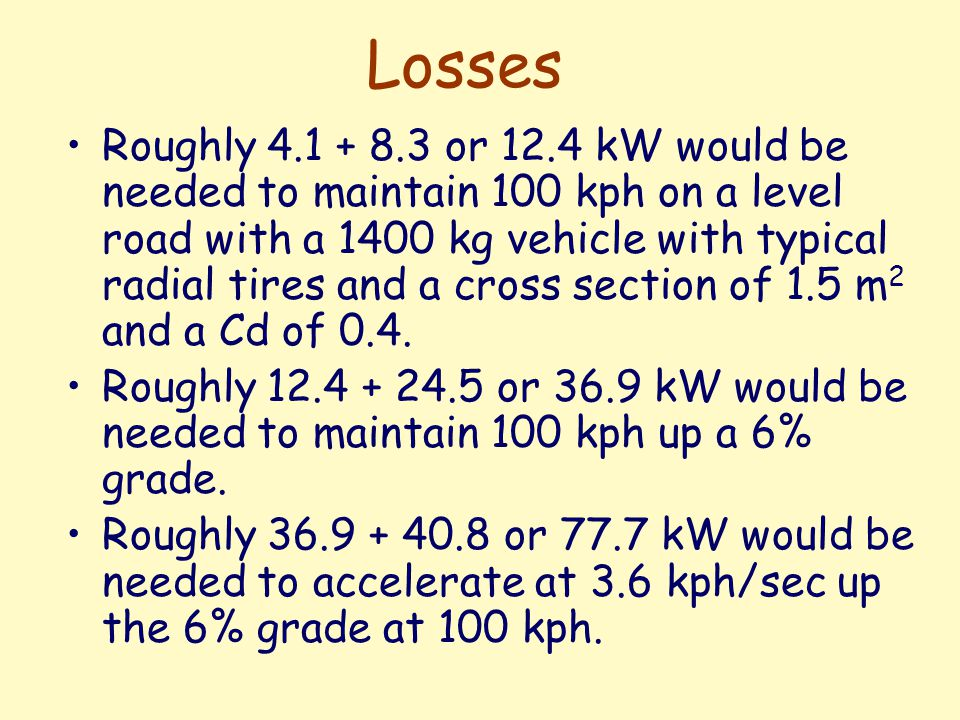 Losses 2 Running 12.4 kW for 40 minutes run would be 8.27 kW-hr of energy for a distance of 67 km at 100 kph.