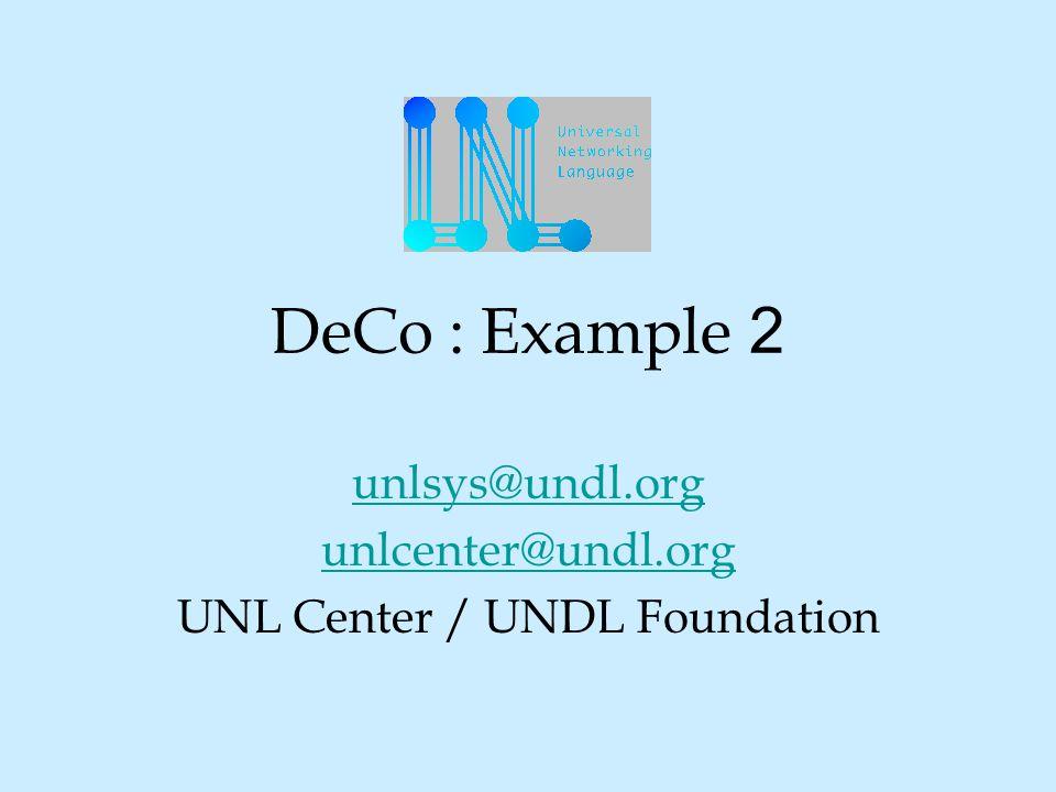 DeCo : Example 2 unlsys@undl.org unlcenter@undl.org UNL Center / UNDL Foundation