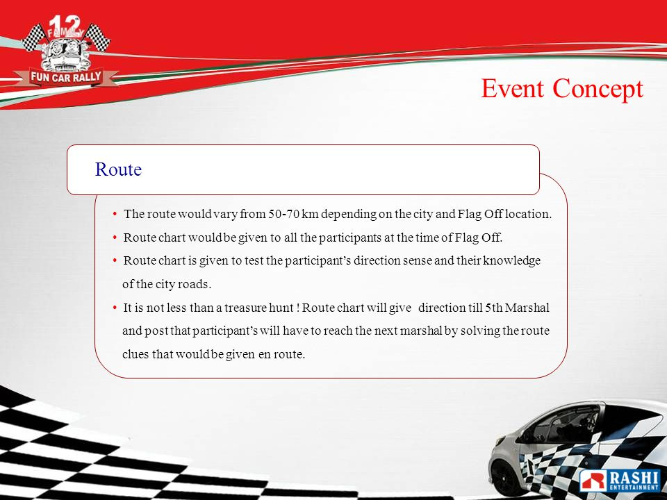 Event Concept Route The route would vary from km depending on the city and Flag Off location.