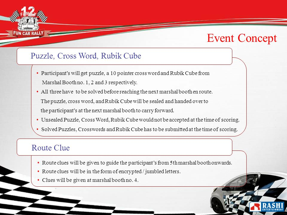 Participants will get puzzle, a 10 pointer cross word and Rubik Cube from Marshal Booth no.