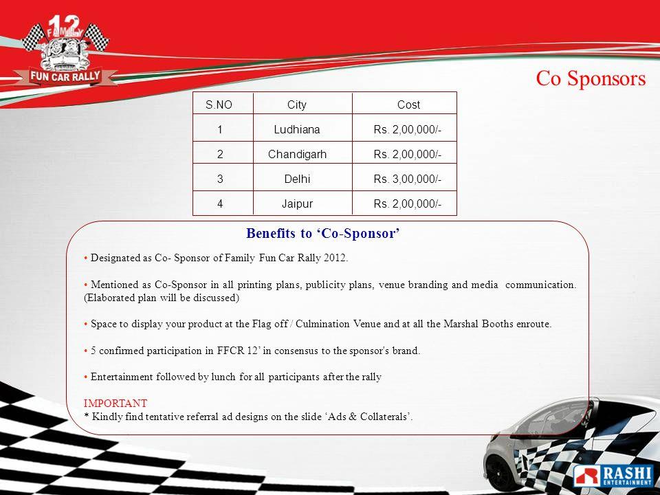 S.NOCity Cost 1LudhianaRs. 2,00,000/- 2ChandigarhRs. 2,00,000/- 3DelhiRs. 3,00,000/- 4JaipurRs. 2,00,000/- Co Sponsors Benefits to Co-Sponsor Designat