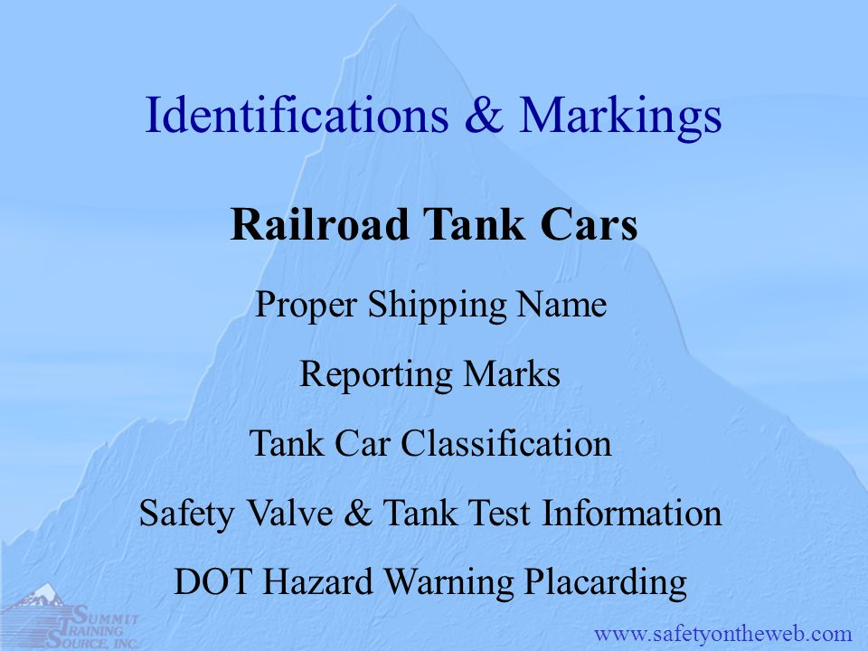 www.safetyontheweb.com Identifications & Markings Railroad Tank Cars Proper Shipping Name Reporting Marks Tank Car Classification Safety Valve & Tank
