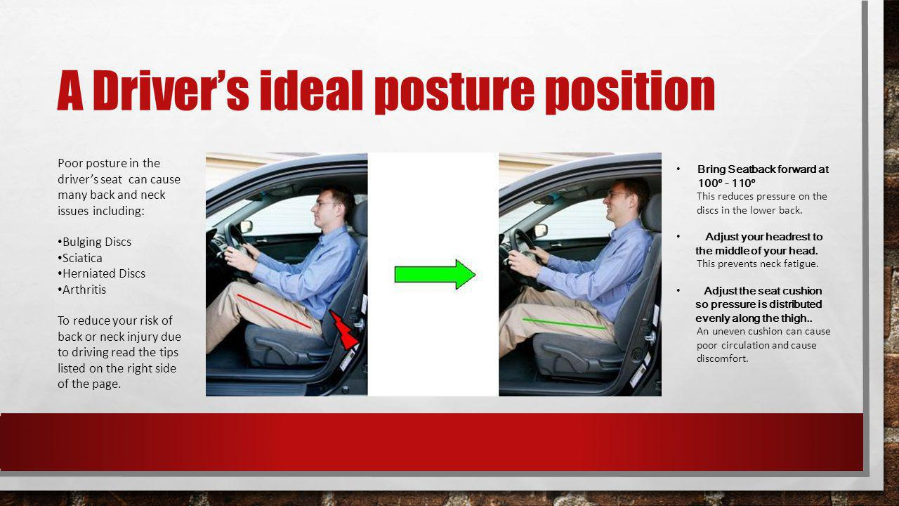 A Drivers ideal posture position Bring Seatback forward at 100 - 110 This reduces pressure on the discs in the lower back.