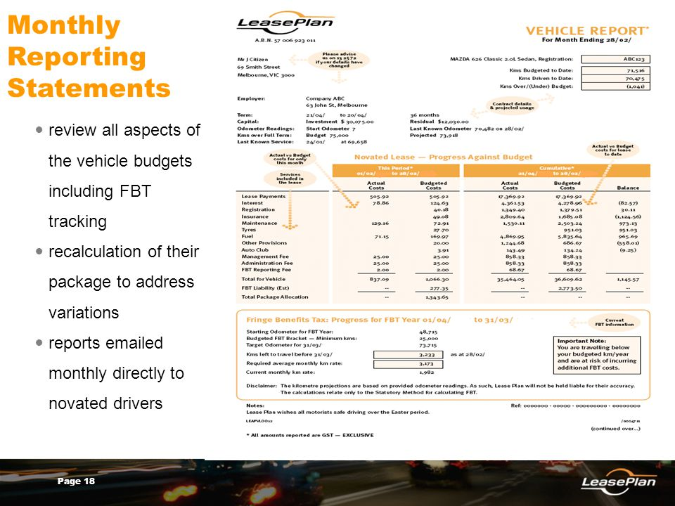 Page 18 Monthly Reporting Statements review all aspects of the vehicle budgets including FBT tracking recalculation of their package to address variations reports emailed monthly directly to novated drivers
