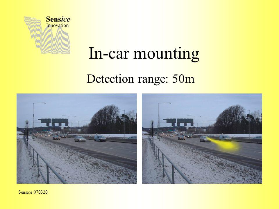 In-car mounting Detection range: 50m Sensice 070320