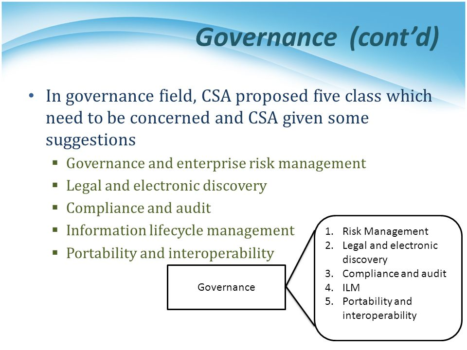 Governance (contd) In governance field, CSA proposed five class which need to be concerned and CSA given some suggestions Governance and enterprise ri