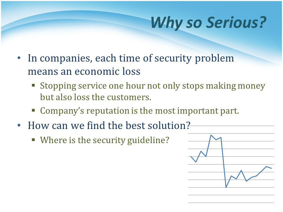 Why so Serious? In companies, each time of security problem means an economic loss Stopping service one hour not only stops making money but also loss