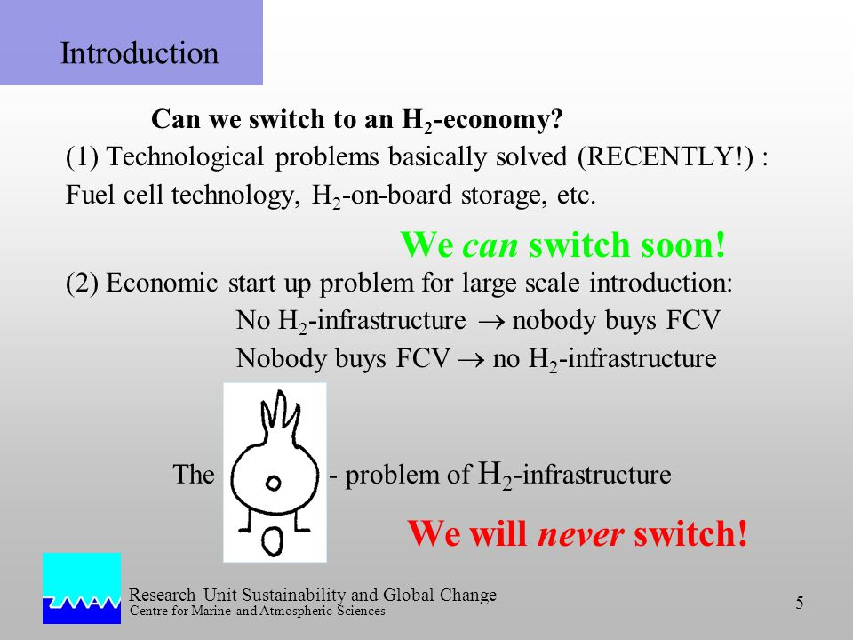 Research Unit Sustainability and Global Change Centre for Marine and Atmospheric Sciences 5 Can we switch to an H 2 -economy.