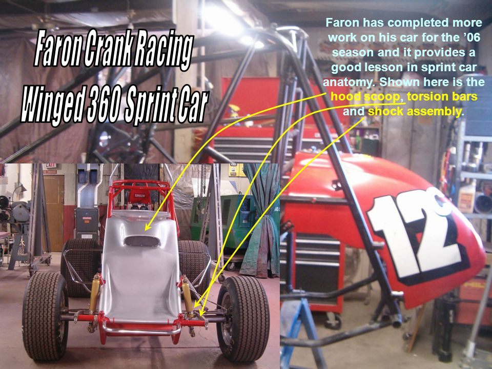 Faron has completed more work on his car for the 06 season and it provides a good lesson in sprint car anatomy.