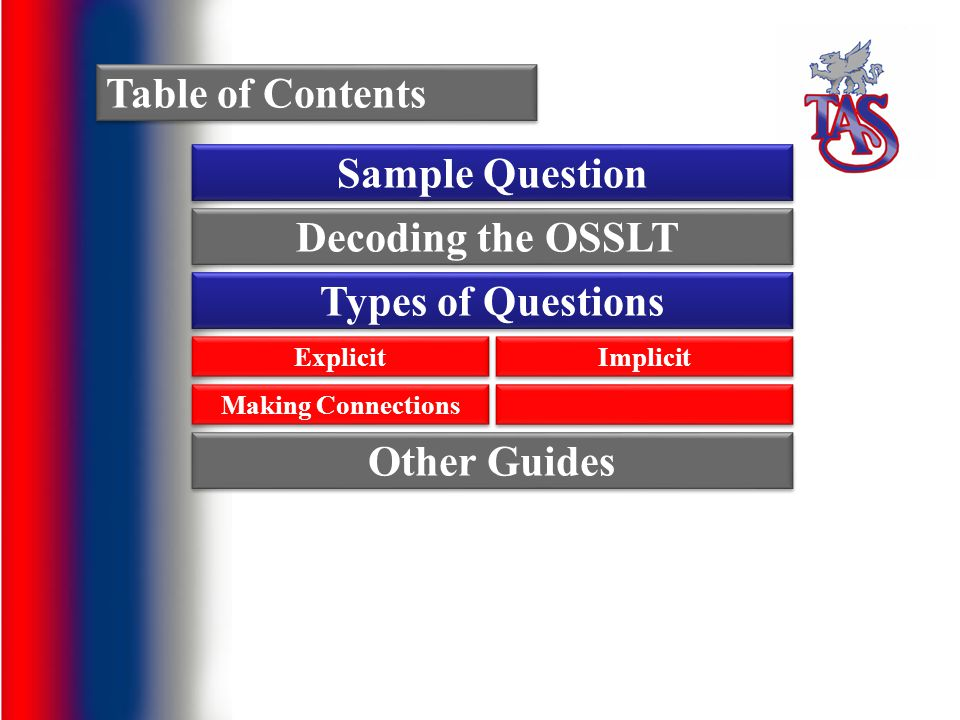 Table of Contents Sample Question Types of Questions Explicit Implicit Decoding the OSSLT Making Connections Other Guides