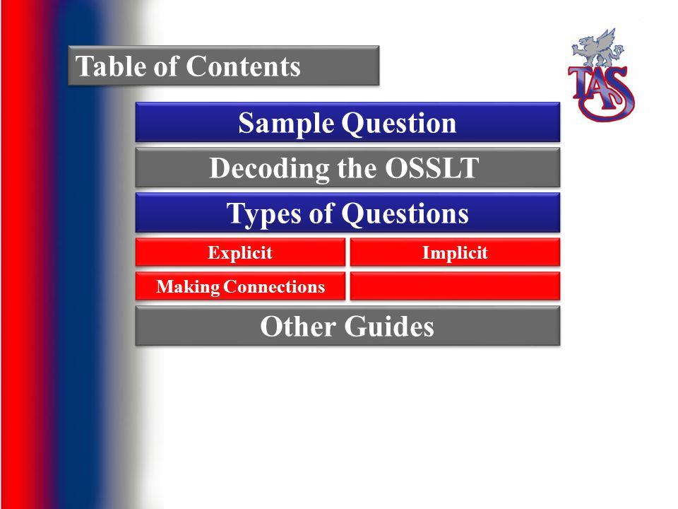 Decoding the OSSLT : OSSLT-speak The OSSLT has its own special terminology.