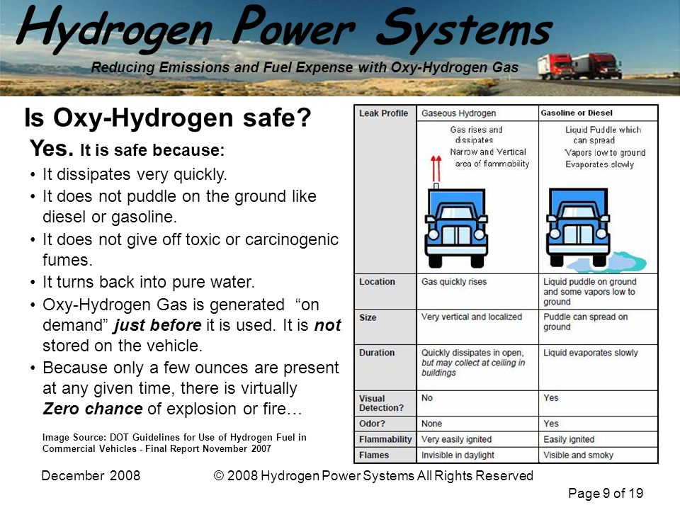 Page 9 of 19 H ydrogen P ower S ystems Reducing Emissions and Fuel Expense with Oxy-Hydrogen Gas December 2008© 2008 Hydrogen Power Systems All Rights Reserved Yes.