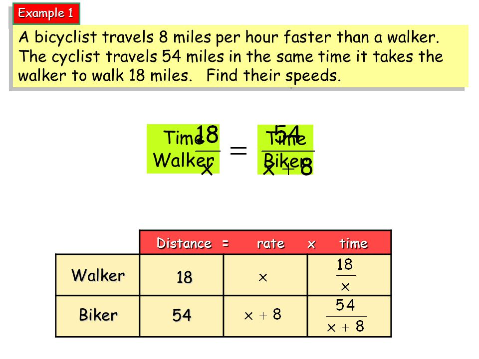 Example 1 Time Walker Time Biker Distance = rate x time Biker Walker 54 18 A bicyclist travels 8 miles per hour faster than a walker.