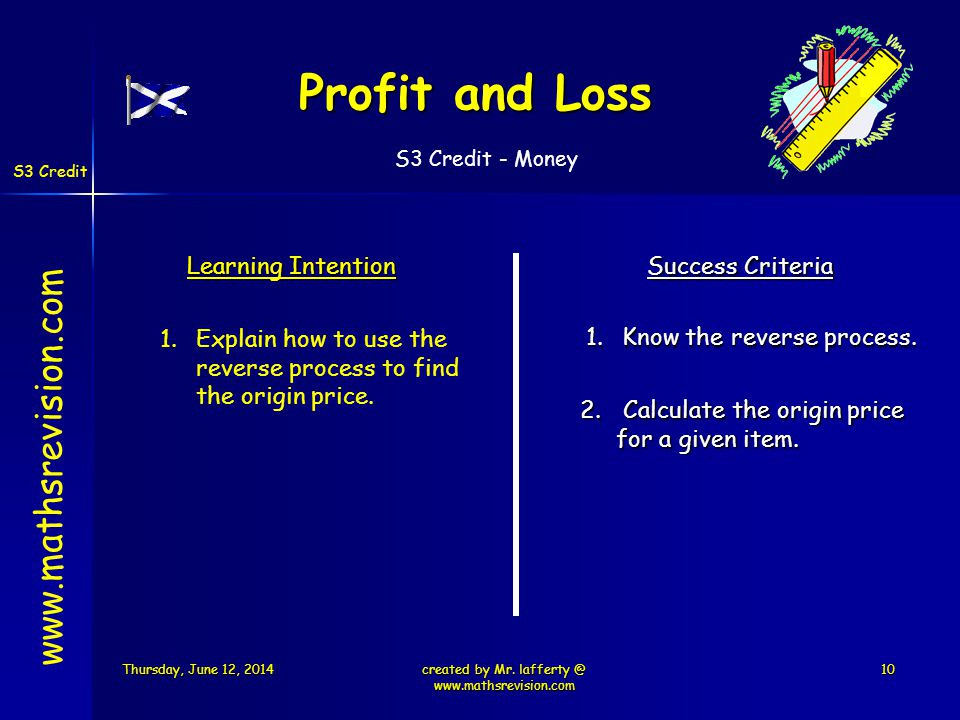 S3 Credit - Money S3 Credit Learning Intention Success Criteria 1.Know the reverse process.