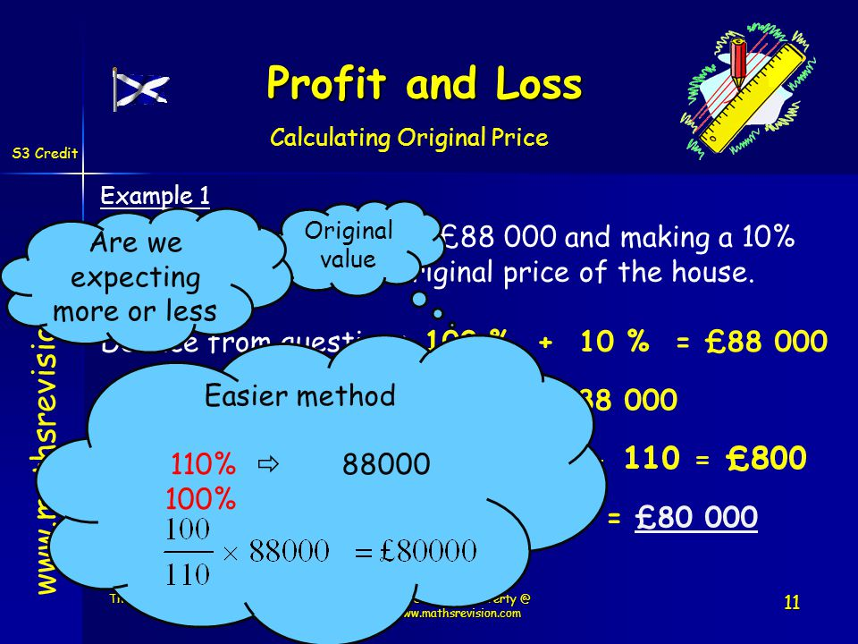 www.mathsrevision.com Example 1 After selling a house for £88 000 and making a 10% Profit.