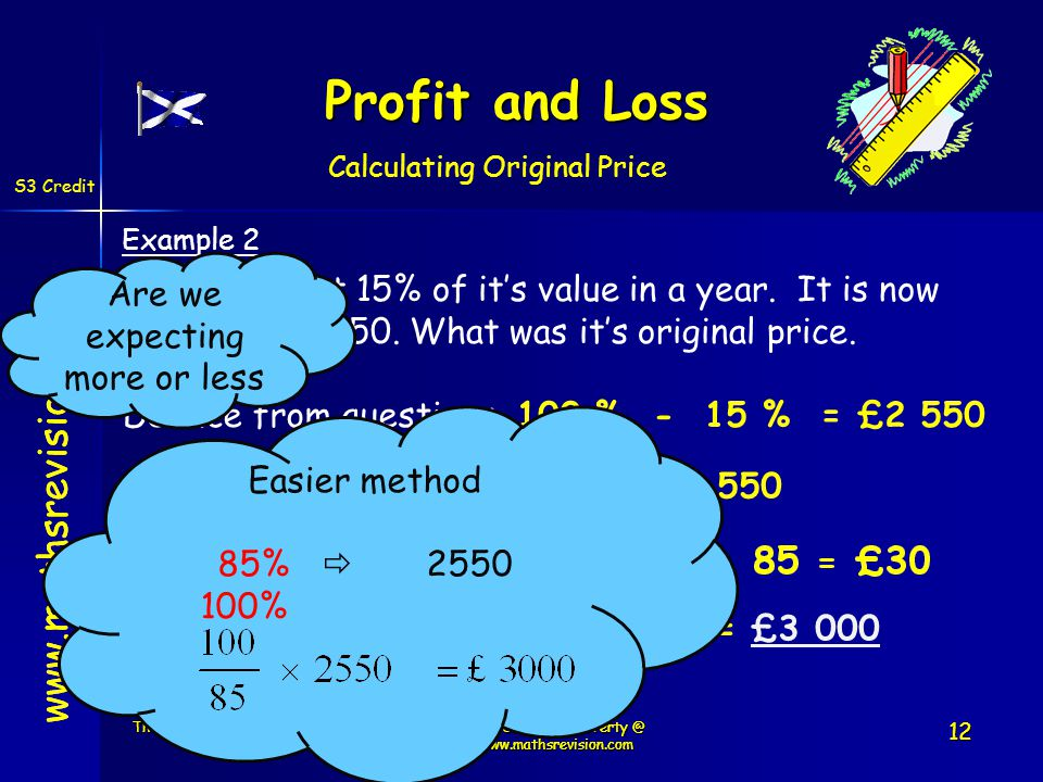 www.mathsrevision.com Example 2 A car has lost 15% of its value in a year. It is now valued at £2550. What was its original price. Price before is 100
