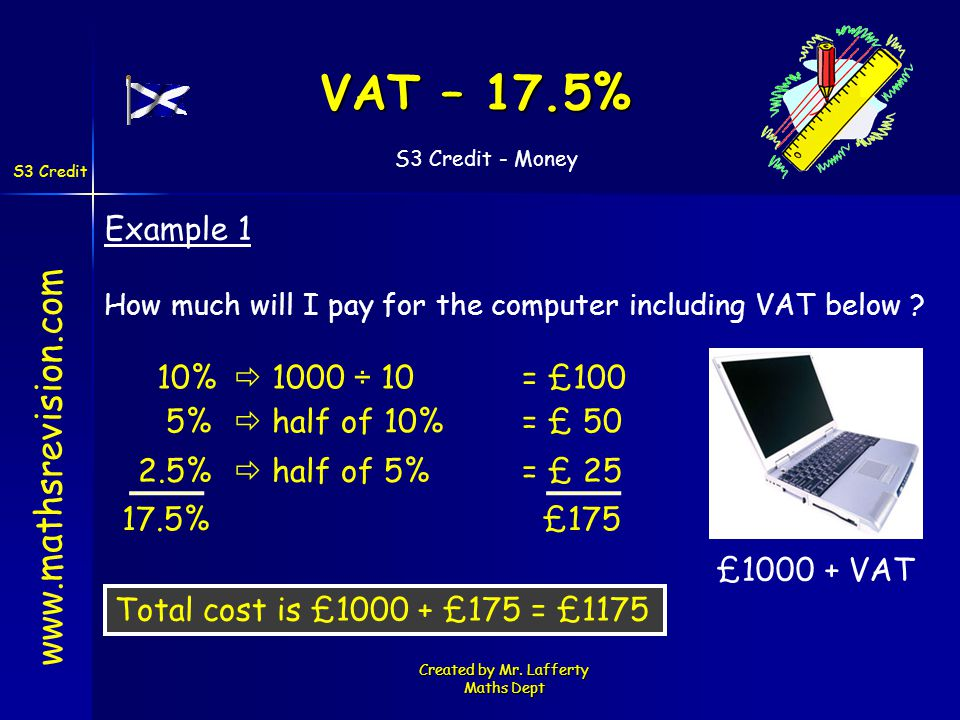S3 Credit - Money S3 Credit Created by Mr. Lafferty Maths Dept VAT – 17.5% www.mathsrevision.com Example 1 How much will I pay for the computer includ