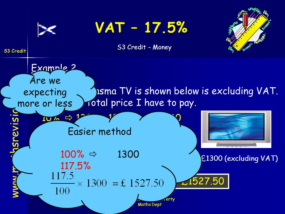 S3 Credit - Money S3 Credit Created by Mr. Lafferty Maths Dept VAT – 17.5% www.mathsrevision.com Example 2 Price of the Plasma TV is shown below is ex