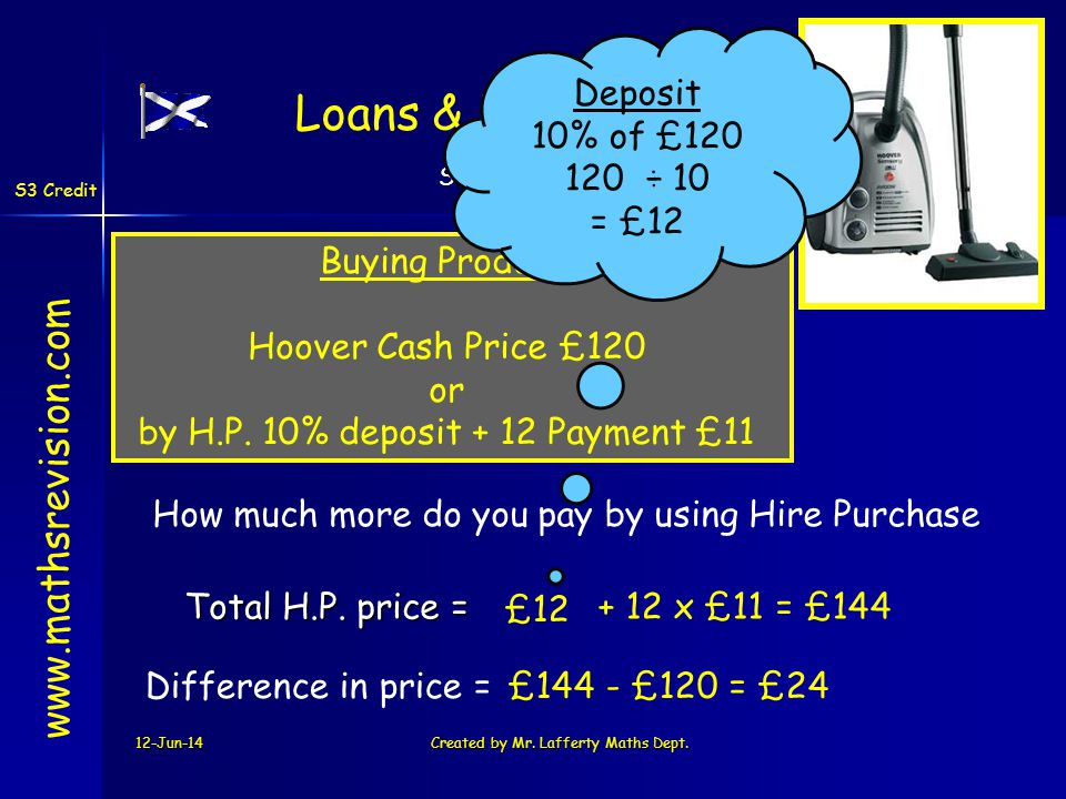 S3 Credit - Money S3 Credit Loans & Hire Purchase 12-Jun-14Created by Mr. Lafferty Maths Dept. + 12 x £11 = £144Total H.P. price = www.mathsrevision.c