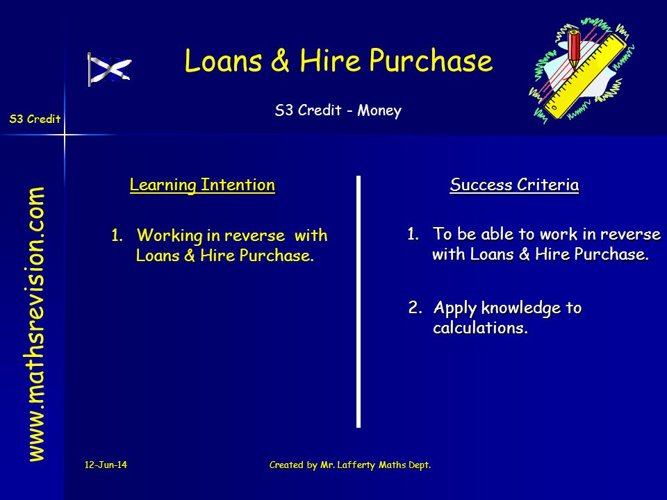 S3 Credit - Money S3 Credit 12-Jun-14Created by Mr. Lafferty Maths Dept. Learning Intention Success Criteria 1.To be able to work in reverse with Loan
