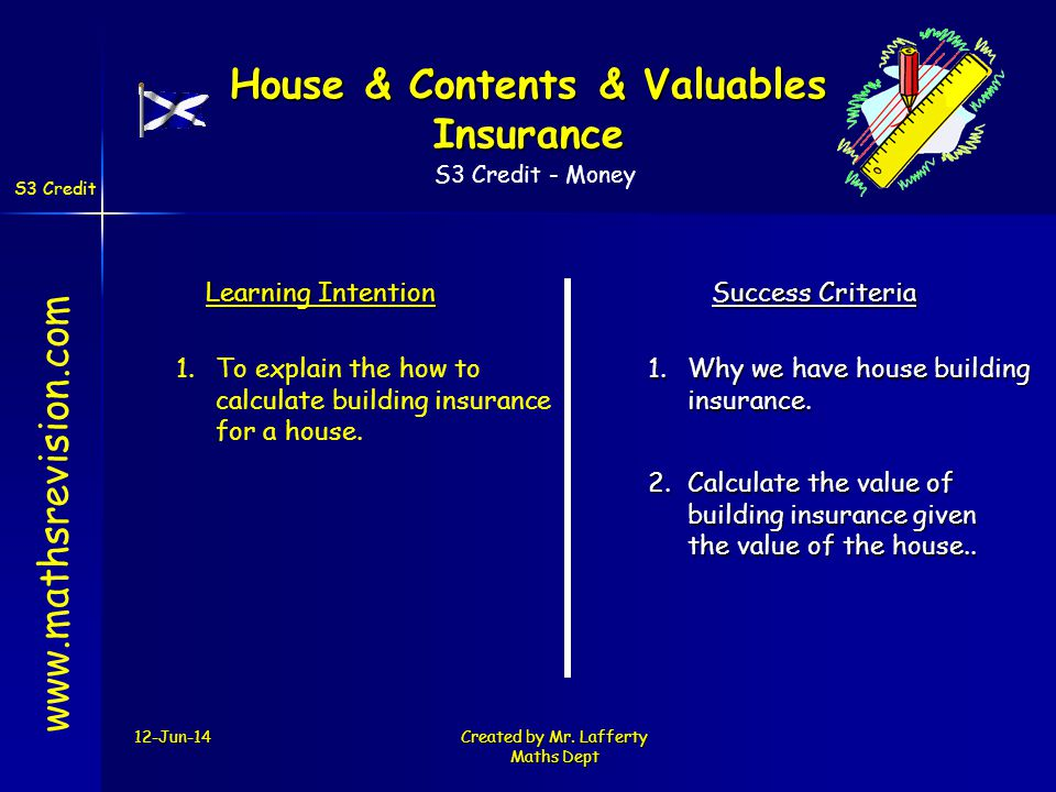 S3 Credit - Money S3 Credit 12-Jun-14Created by Mr. Lafferty Maths Dept www.mathsrevision.com Learning Intention Success Criteria 2.Calculate the valu