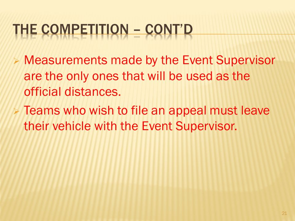 Measurements made by the Event Supervisor are the only ones that will be used as the official distances. Teams who wish to file an appeal must leave t