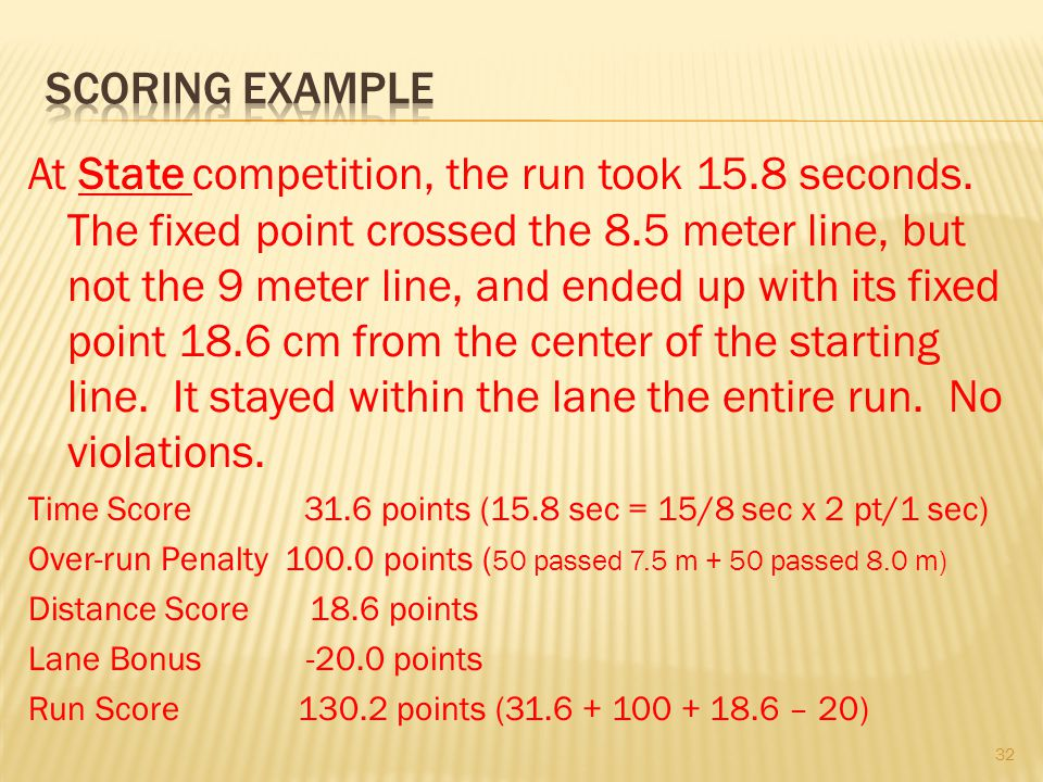 At State competition, the run took 15.8 seconds. The fixed point crossed the 8.5 meter line, but not the 9 meter line, and ended up with its fixed poi