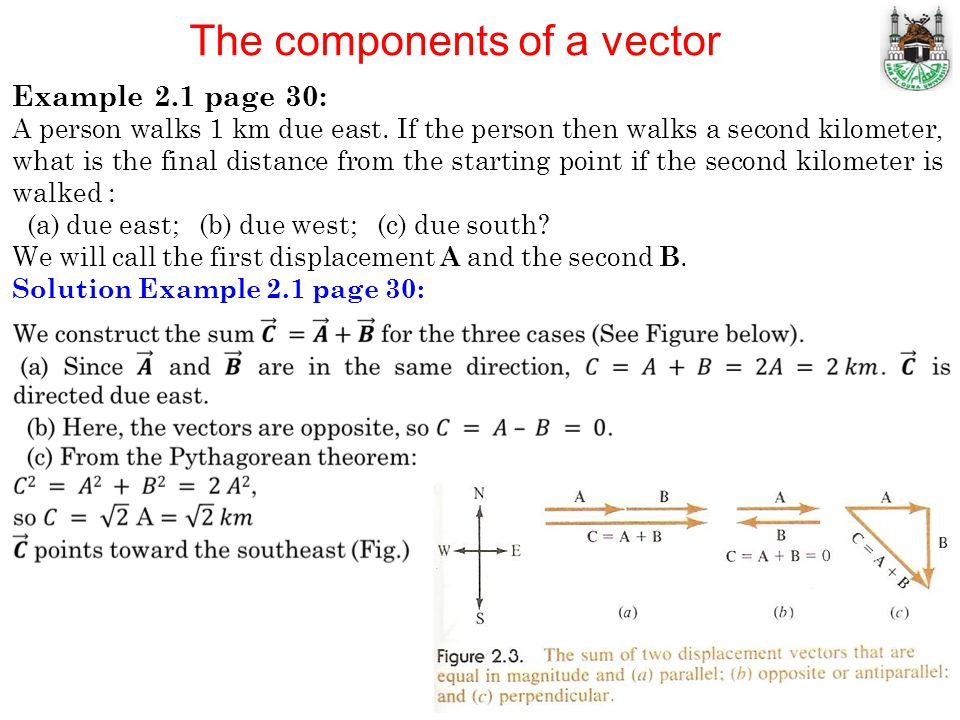 The components of a vector Example 2.1 page 30: A person walks 1 km due east. If the person then walks a second kilometer, what is the final distance