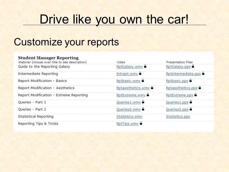 Drive like you own the car! Customize your reports