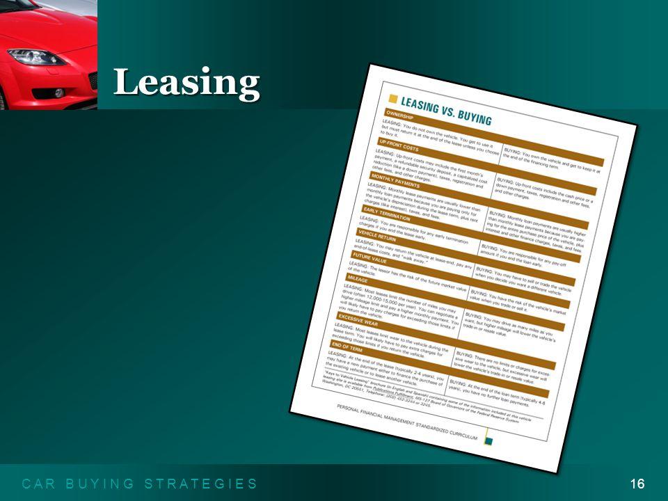 C A R B U Y I N G S T R A T E G I E S16 Leasing Leasing vs. Buying Handout