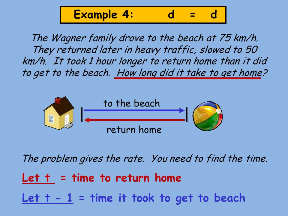 Example 4: d = d The Wagner family drove to the beach at 75 km/h. They returned later in heavy traffic, slowed to 50 km/h. It took 1 hour longer to re