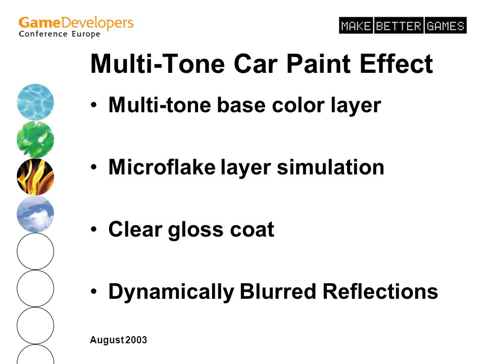 August 2003 Multi-Tone Car Paint Effect Multi-tone base color layer Microflake layer simulation Clear gloss coat Dynamically Blurred Reflections