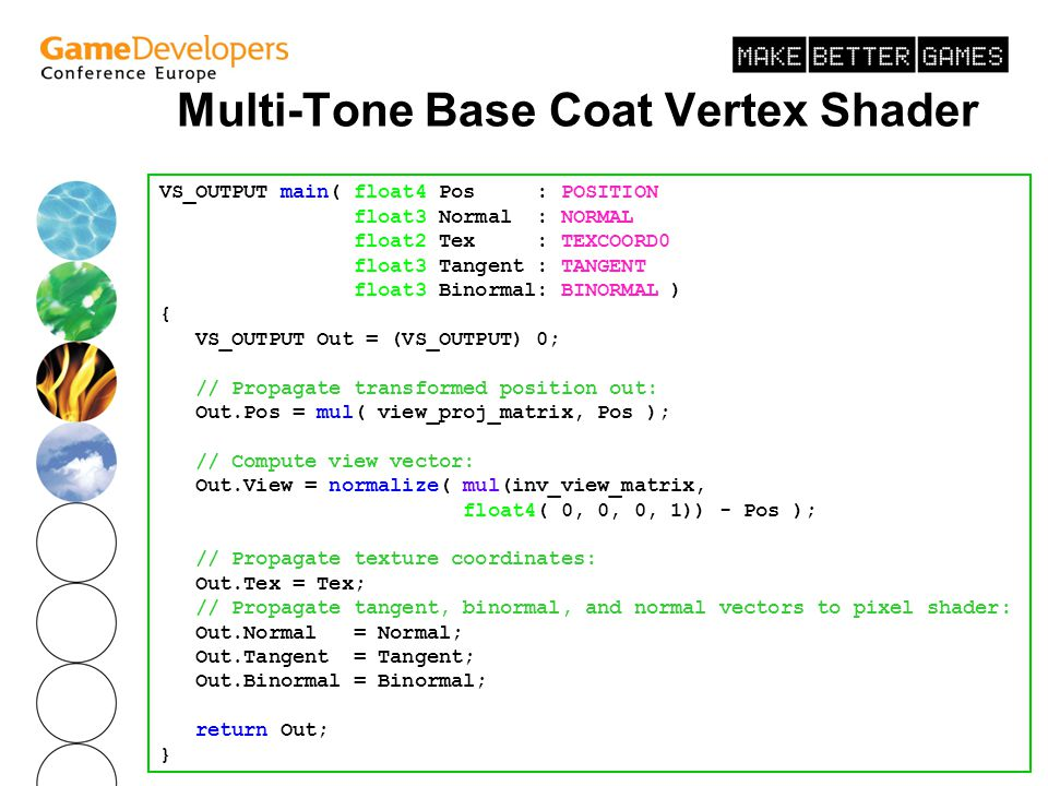 August 2003 Multi-Tone Base Coat Vertex Shader VS_OUTPUT main( float4 Pos : POSITION, float3 Normal : NORMAL, float2 Tex : TEXCOORD0, float3 Tangent :