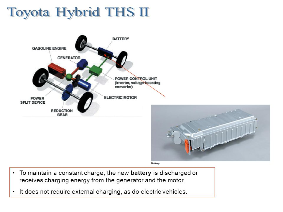 To maintain a constant charge, the new battery is discharged or receives charging energy from the generator and the motor. It does not require externa
