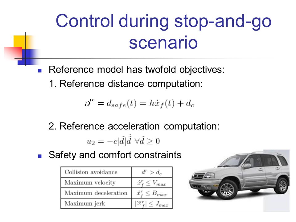 Reference model has twofold objectives: 1. Reference distance computation: 2. Reference acceleration computation: Safety and comfort constraints