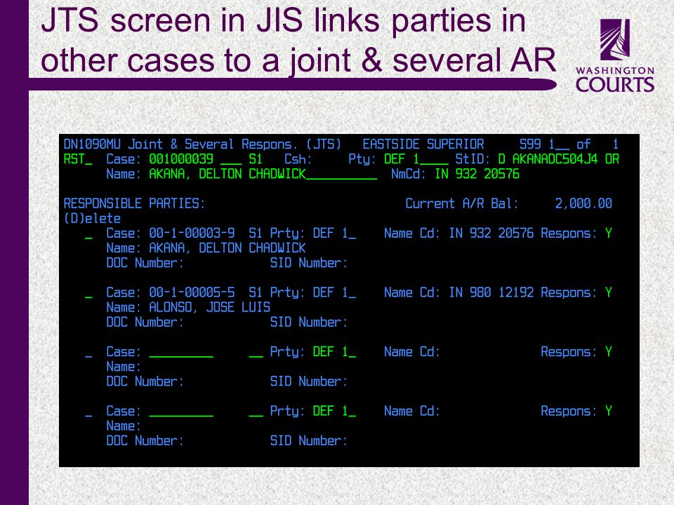 c JTS screen in JIS links parties in other cases to a joint & several AR