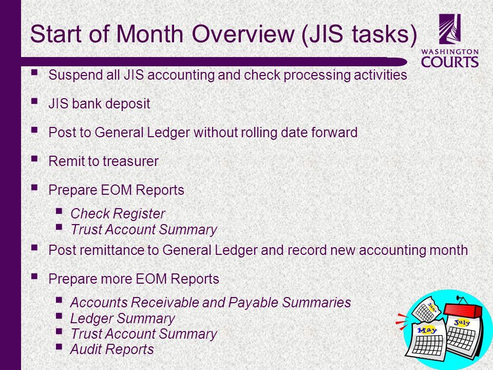 c Start of Month Overview (JIS tasks) Suspend all JIS accounting and check processing activities JIS bank deposit Post to General Ledger without rolli