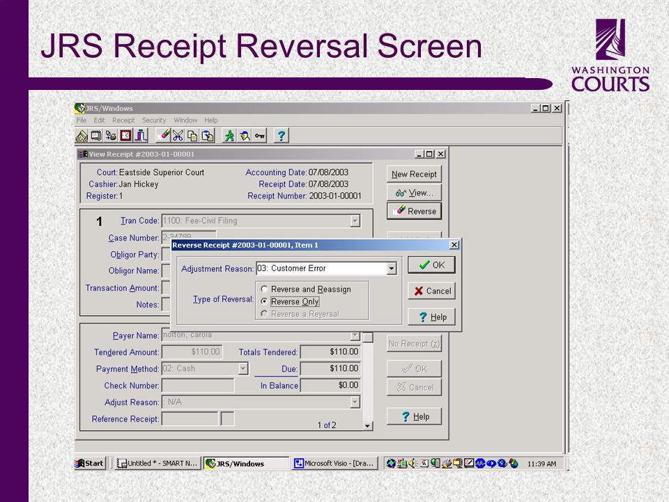 c JRS Receipt Reversal Screen