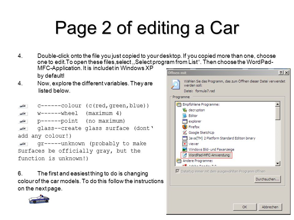 Page 2 of editing a Car 4.Double-click onto the file you just copied to your desktop.