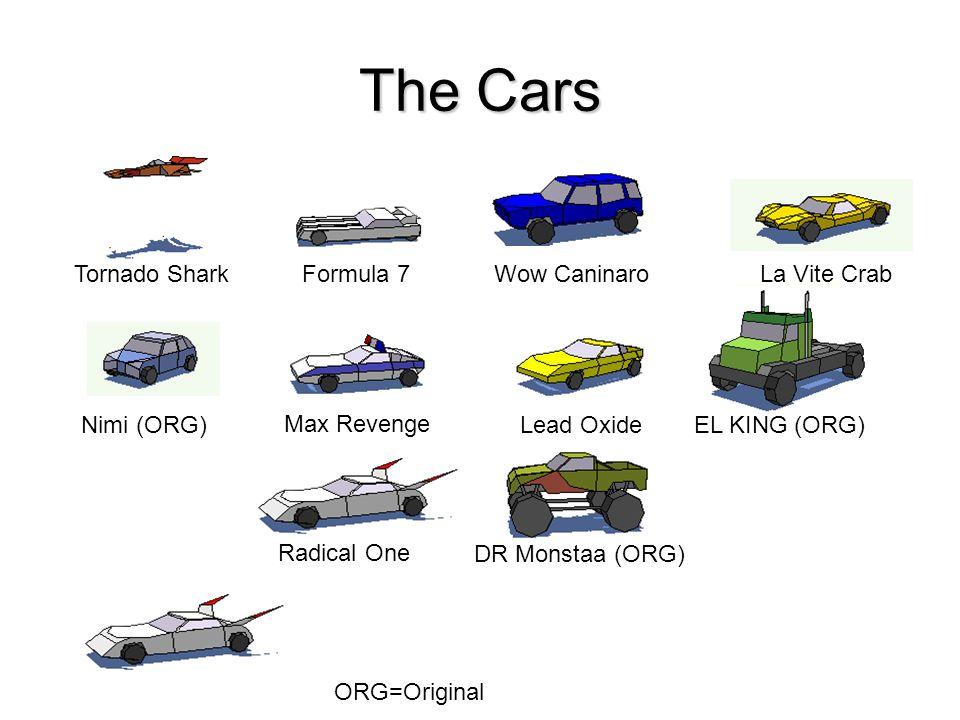 The Cars Tornado SharkFormula 7Wow CaninaroLa Vite Crab Nimi (ORG) Max Revenge Lead OxideEL KING (ORG) Radical One DR Monstaa (ORG) ORG=Original