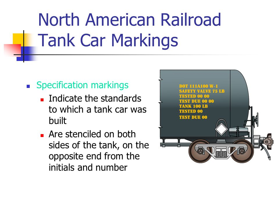 North American Railroad Tank Car Markings Specification markings Indicate the standards to which a tank car was built Are stenciled on both sides of t