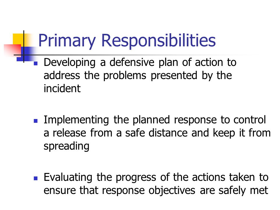 Criminal and Terrorist Incident Response Essentially the same as other haz mat incidents Law enforcement Must be notified Must be included Responsible for evidence collection