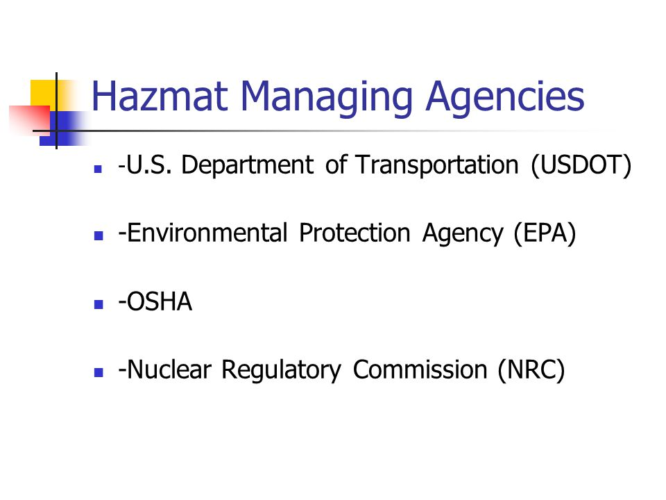 Hazmat Incident Response Levels Level I – Incident that can be controlled by first responder/s.