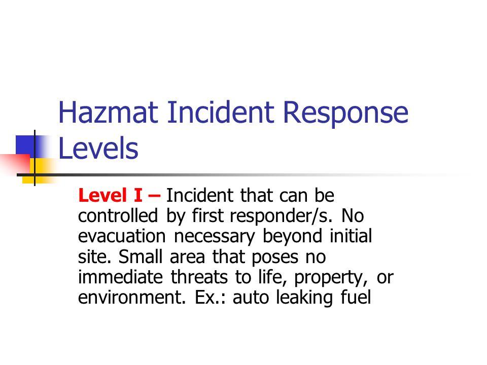 Hazmat Incident Response Levels Level II- Incident has greater hazard/area involved than Level I.